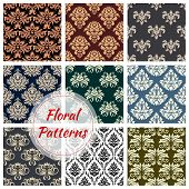Flourish baroque patterns set of flowery motif and ornate luxury embellishment. Floral backdrops with rococo ornament tiles of seamless tracery and ornamental flowers for interior design poster