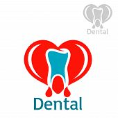 Stomatology icon with tooth. Dentistry and odontology vector isolated flat badge or sign of healthy white tooth with red heart in shape of open mouth. emblem for dentist, stomatologist clinic, teeth health center or tooth paste design poster