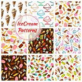 Ice cream patterns of ice cream assortment, scoops in glass bowl and wafer cones, sweet chocolate eskimo and vanilla sundae, frozen fruit ice and fruity sorbet or slush ice and glazed gelato . Vector seamless set poster
