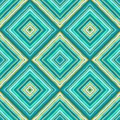 Striped diagonal rectangle seamless pattern. Square rhombus lines with torn paper effect. Ethnic background. Green, blue, turquoise, yellow colors. Vector poster
