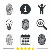 Fingerprint icons. Identification or authentication symbols. Biometric human dabs signs. Information, light bulb and calendar icons. Investigate magnifier. Vector poster