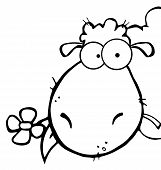 Outlined Sheep Head Cartoon Character Carrying A Flower In Its Mouth poster