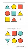 IQ test. Choose correct answer. Logical tasks composed of geometric shapes. Vector illustration poster