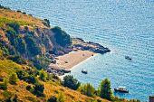 Idyllic secret beach on Brac island coast Dalmatia Croatia poster