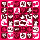 Lovers checked pattern - illustrations - icons set - poster
