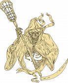 Drawing sketch style illustration of the grim reaper lacrosse player holding a crosse or lacrosse stick defense pole viewed from front on isolated white background. poster