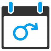Impotence Calendar Day vector toolbar icon. Style is bicolor flat icon symbol blue and gray colors white background. poster