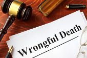 Document with title Wrongful Death o a wooden surface. poster