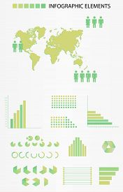 Business infographic set. Infographics set contains a map with man icons, graphs, charts and other infographic elements.Vector illustration for report, web design, timeline.