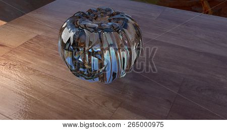 A Crystal Halloween Pumpkin In A Wooden Table. 3d Illustration.