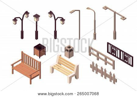 Collection Isolated Urban Element Of Street Environment For Modern City. Concept Set With Fence, Tra