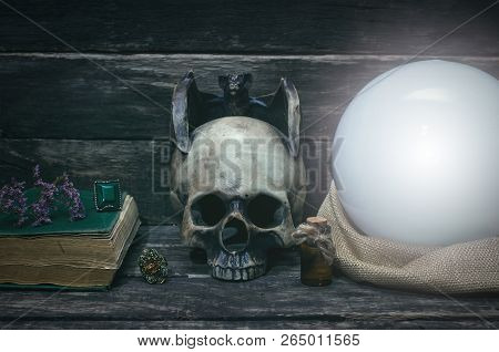 Crystal Ball On The Magic Table Background. Future Reading Concept.