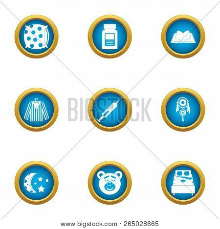 Sleep Conditions Icons Set. Flat Set Of 9 Sleep Conditions Vector Icons For Web Isolated On White Ba