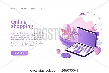 Online Shop Website Landing Or E-commerce Isometric Vector Illustration Concept