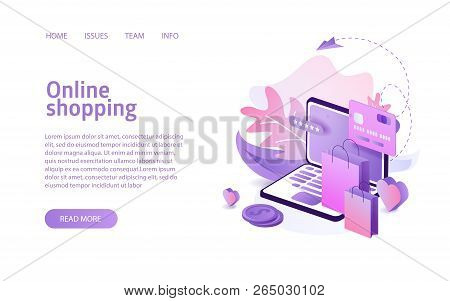 Online Shopping Landing Or E-commerce Isometric Vector Illustration Concept