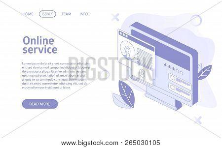 Online Stream Or Video Hosting Service Landing Isometric Vector Illustration Concept