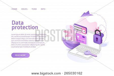Data Protection Concept Business Marketing Layout For Website Landing Header