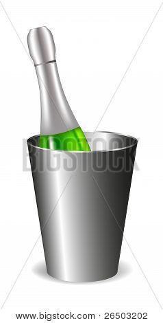 Champagne bottle (wine bottle) in metal bucket