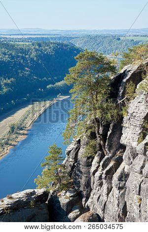 View From The Elbe Sandstone Mountains In The Valley Of The River Elbe