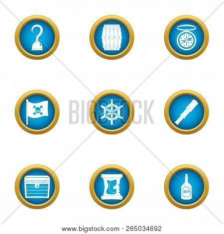 Video Piracy Icons Set. Flat Set Of 9 Video Piracy Vector Icons For Web Isolated On White Background