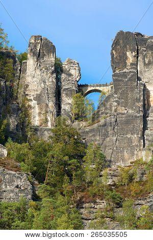 Bastei Bridge Between The Rocks Of The Elbe Sandstone Mountains