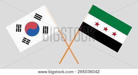 Crossed Syrian National Coalition And South Korea Flags. Official Colors. Correct Proportion. Vector