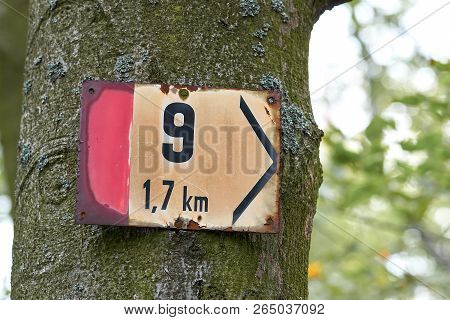 Sign On A Hiking Trail At Karlovy Vary In The Czech Republic