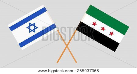 Crossed Syrian National Coalition And Israel Flags. Official Colors. Correct Proportion. Vector Illu