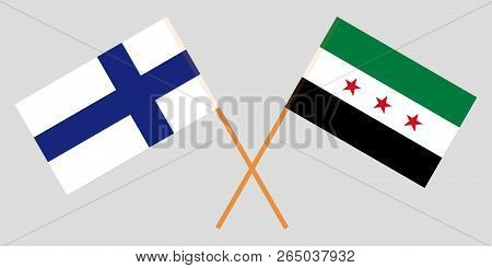 Crossed Syrian National Coalition And Finland Flags. Official Colors. Correct Proportion. Vector Ill