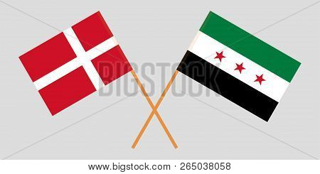 Crossed Syrian National Coalition And Denmark Flags. Official Colors. Correct Proportion. Vector Ill