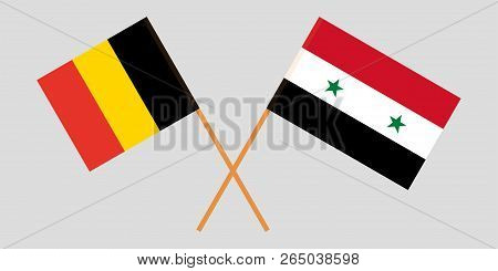 Crossed Syrian National Coalition And Belgium Flags. Official Colors. Correct Proportion. Vector Ill