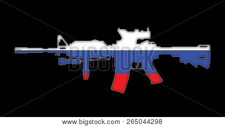 Rifle With Russian Flag Painted On, Isolated On Black Background 3d Illustration