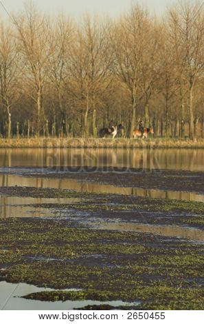 Horse riders by a turf covered canal in Spring poster
