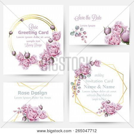 Watercolor Rose Flowers Cards Set Collection Vector. Vintage Greeting Or Buisiness Card, Wedding Inv