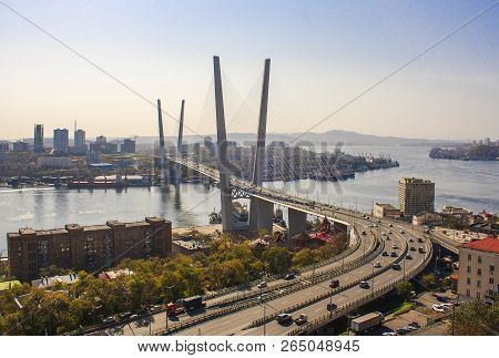 Golden Bridge Over The Golden Horn Bay. Vladivostok. Russia.
