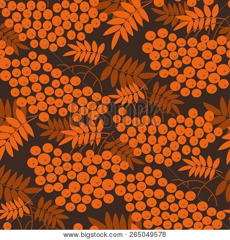Autumn Cool Orange Rowanberry Seamless Pattern. Simple Fall Red Berries Repeatable Motif  For Fabric