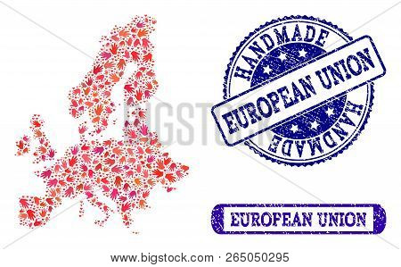 Handmade Craft Composition Of Mosaic Map Of Euro Union And Rubber Seal Stamps. Mosaic Map Of Euro Un