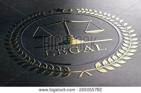 Legal Symbol With Scales Of Justice, Golden Sign Embossed On Black Paper Background. 3d Illustration