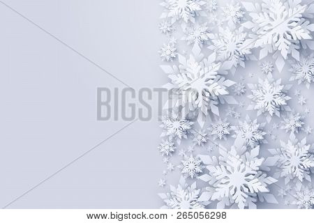 Vector Merry Christmas And Happy New Year Greeting Card Design With Frame Made Of 3d White Realistic