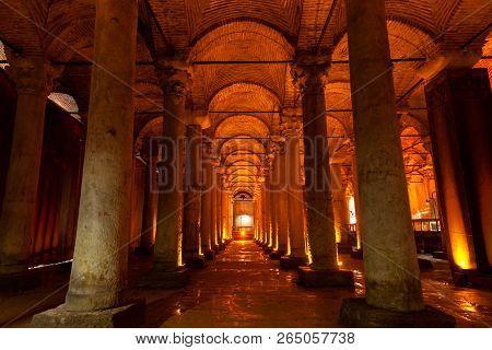 Istanbul, Turkey - August 15, 2018: Illuminated Columns Of The Basilica Cistern On  August 15, 2018