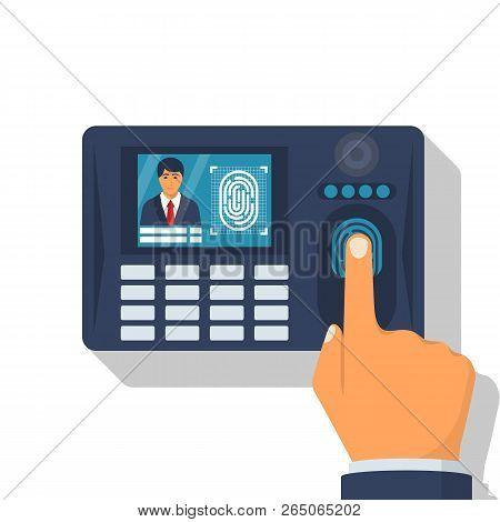 Finger Print Scan. Authorization In Security System. Human Hand Scanning Finger. Access Control. Vec
