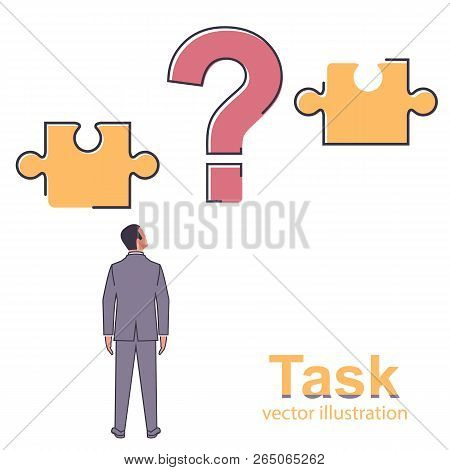 Task Concept. Businessman Faces A Difficult Task. Connect The Two Puzzles. Vector Illustration Flat