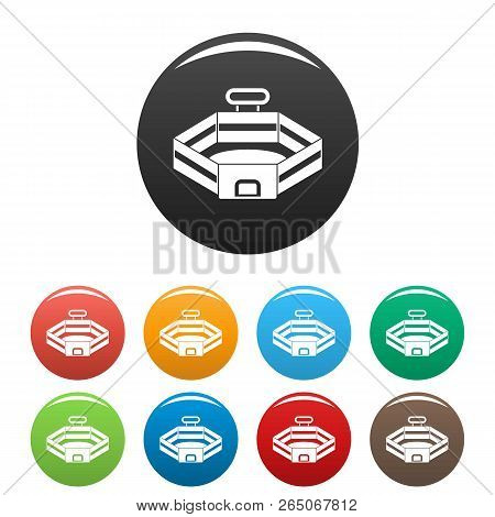Baseball Stadium Icons Set 9 Color Vector Isolated On White For Any Design