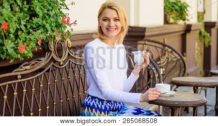 Mug Of Good Coffee In Morning Gives Me Energy Charge. Daily Pleasant Rituals Make Life Better. Woman
