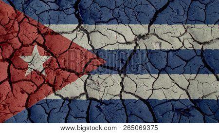 Political Crisis Or Environmental Concept: Mud Cracks With Cuba Flag poster