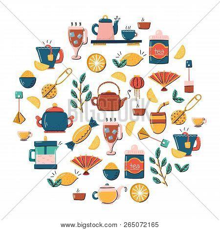 Vector Cartoon Illustration With Tea Ceremony Set: Cup, Teapot, Lemon, Tea Bags, Herbs, Sweets, Mate