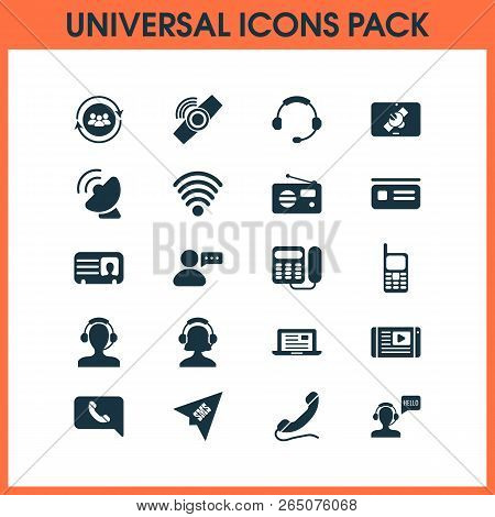 Communication Icons Set With Tablet Connection, Greeting Male Operator, Satellite Connection And Oth
