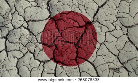 Political Crisis Or Environmental Concept: Mud Cracks With Japan Flag poster