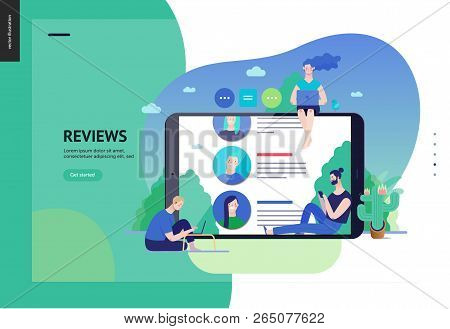Business Series, Color 3 - Reviews -modern Flat Vector Illustration Concept Of People Writing Review