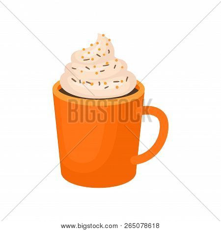 Pumpkin Spice Whipped Latte, Traditional Thanksgiving Drink Vector Illustration On A White Backgroun